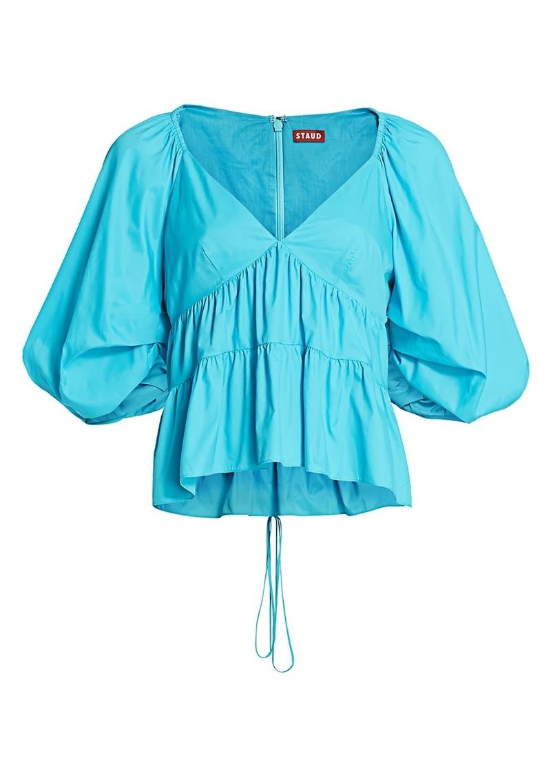STAUD Lucy Puff-Sleeve Top