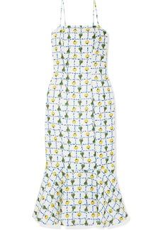 STAUD Lychee Printed Linen Midi Dress