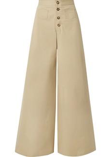STAUD Martin Cotton-blend Gabardine Wide-leg Pants