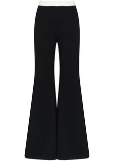 STAUD Milo striped wrap-effect trousers