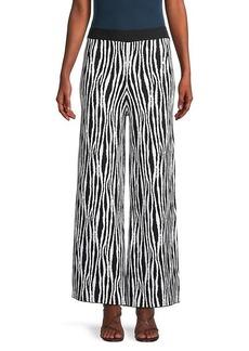 STAUD Mitchell Zebra-Print Wide-Leg Pants