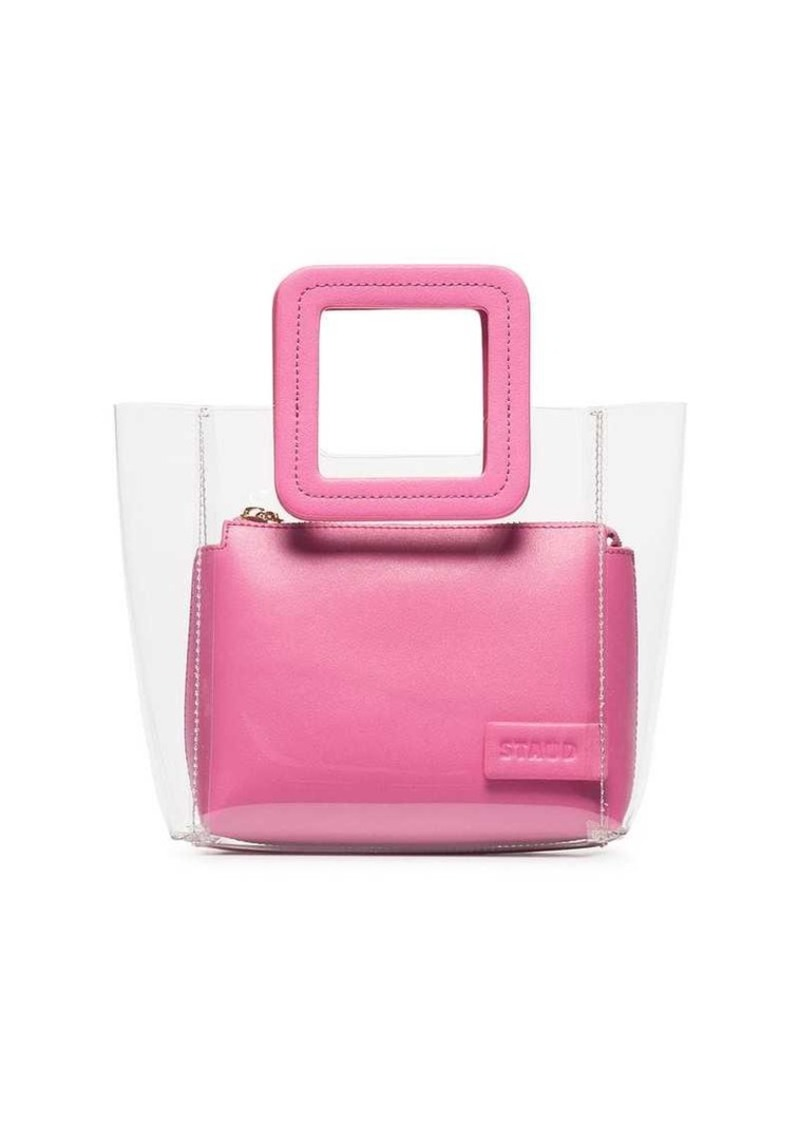 STAUD Pink Shirley mini leather tote bag
