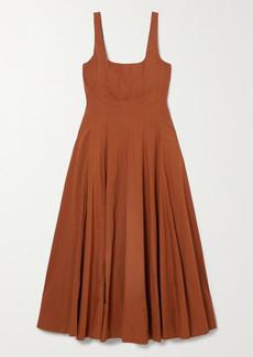 STAUD Pleated Cotton-blend Poplin Maxi Dress