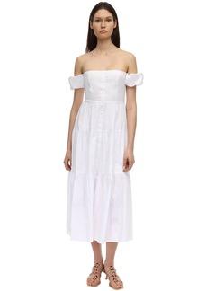 STAUD Ruffled Cotton Poplin Midi Dress