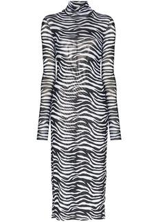 STAUD zebra-print midi dress