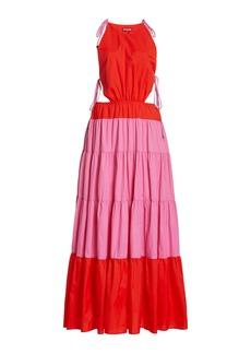 Staud - Women's Minerva Two-Tone Shell Maxi Dress - Pink/blue - Best Seller - Moda Operandi