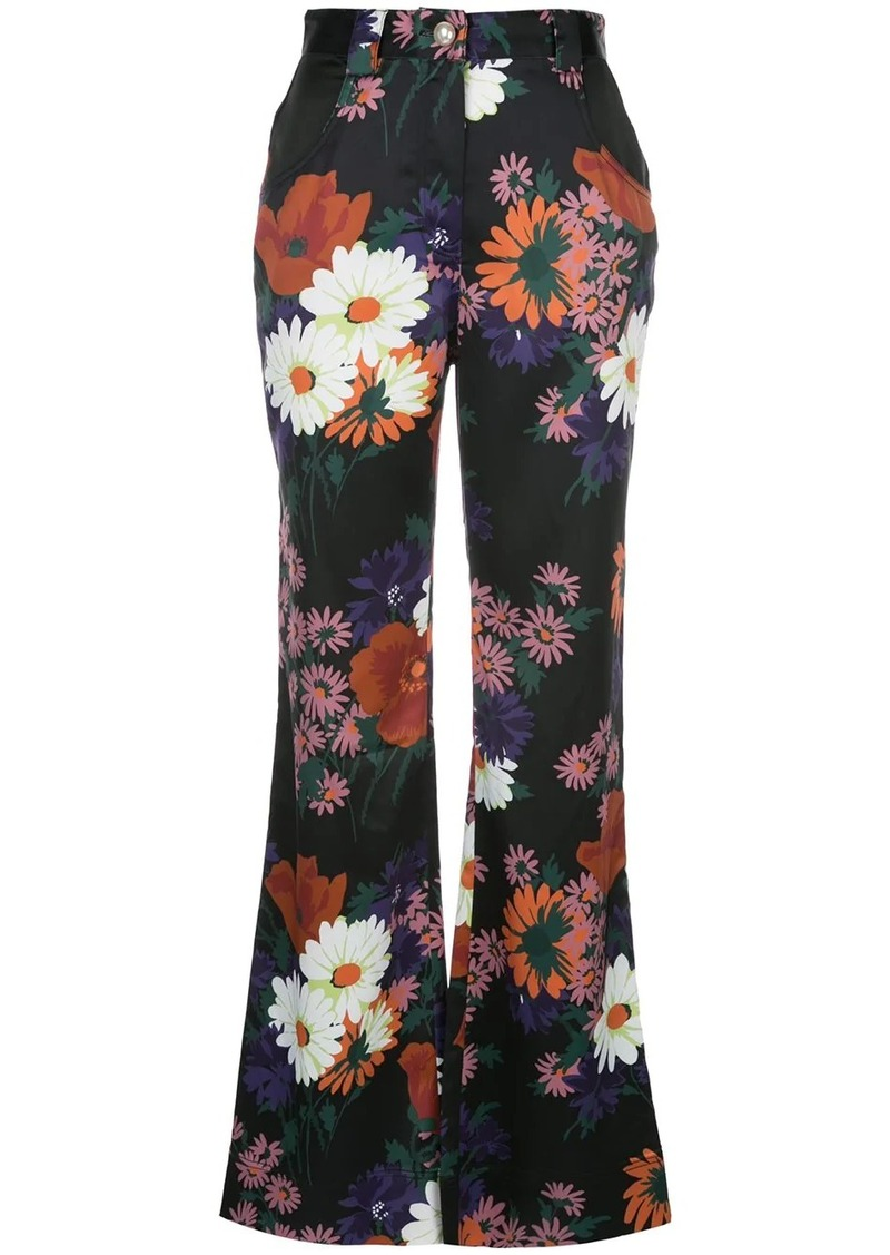 STAUD floral flared trousers
