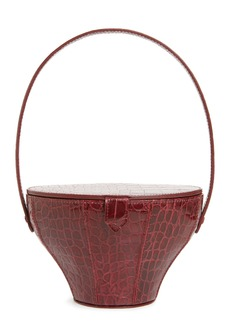 STAUD Alice Croc Embossed Leather Bucket Bag
