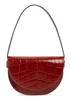 STAUD Amal Croc Embossed Leather Shoulder Bag