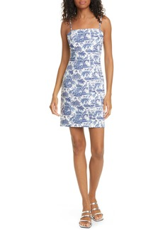 STAUD Basset Toile Print Stretch Poplin Dress