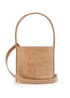 Staud Bisset mini crocodile-embossed leather bucket bag