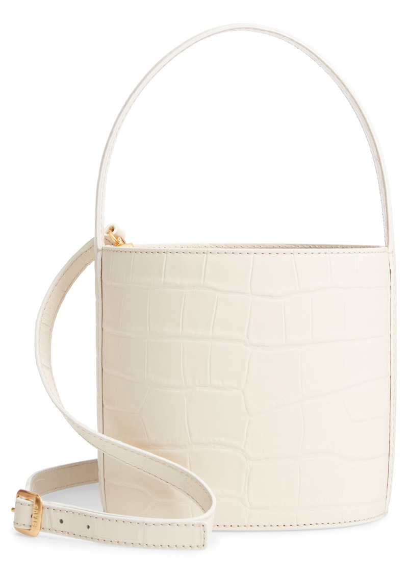 STAUD Bissett Croc Embossed Leather Bucket Bag