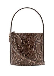 Staud Bissett python-effect leather bucket bag