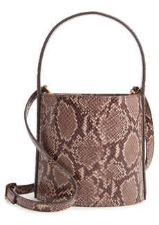 STAUD Bissett Snake Embossed Leather Bucket Bag