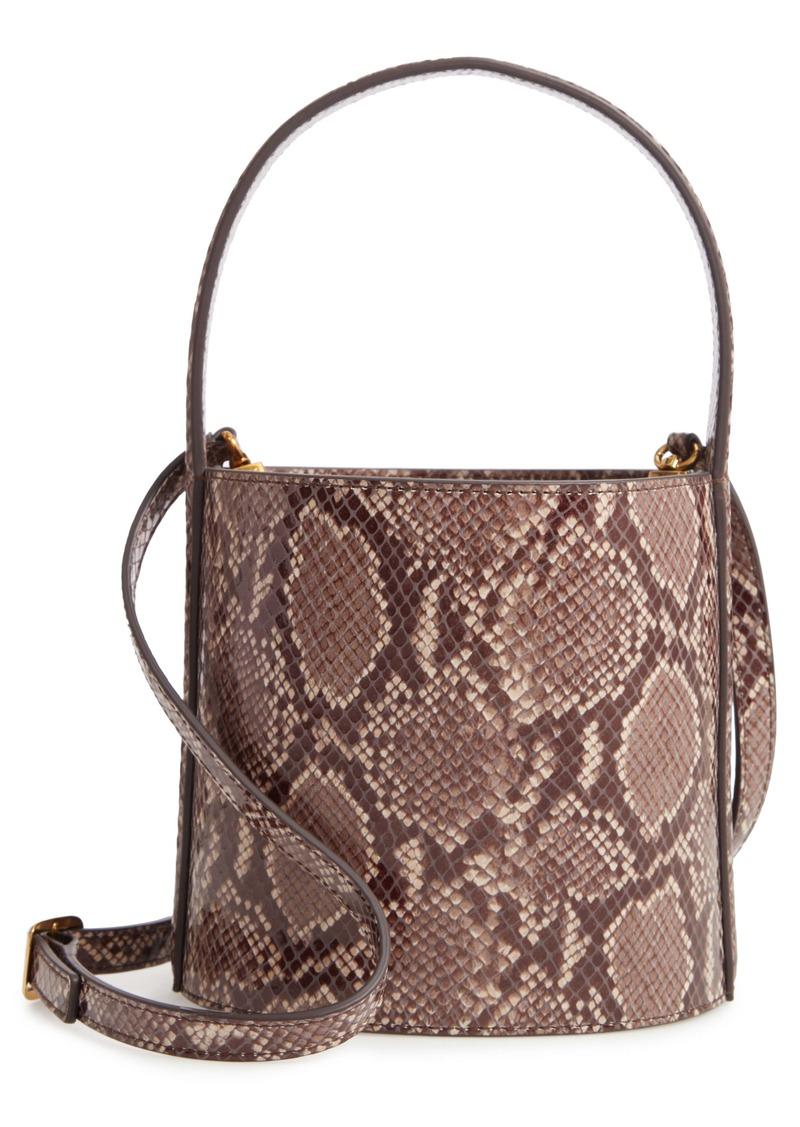 STAUD Bissett Snake Embossed Leather Bucket Bag