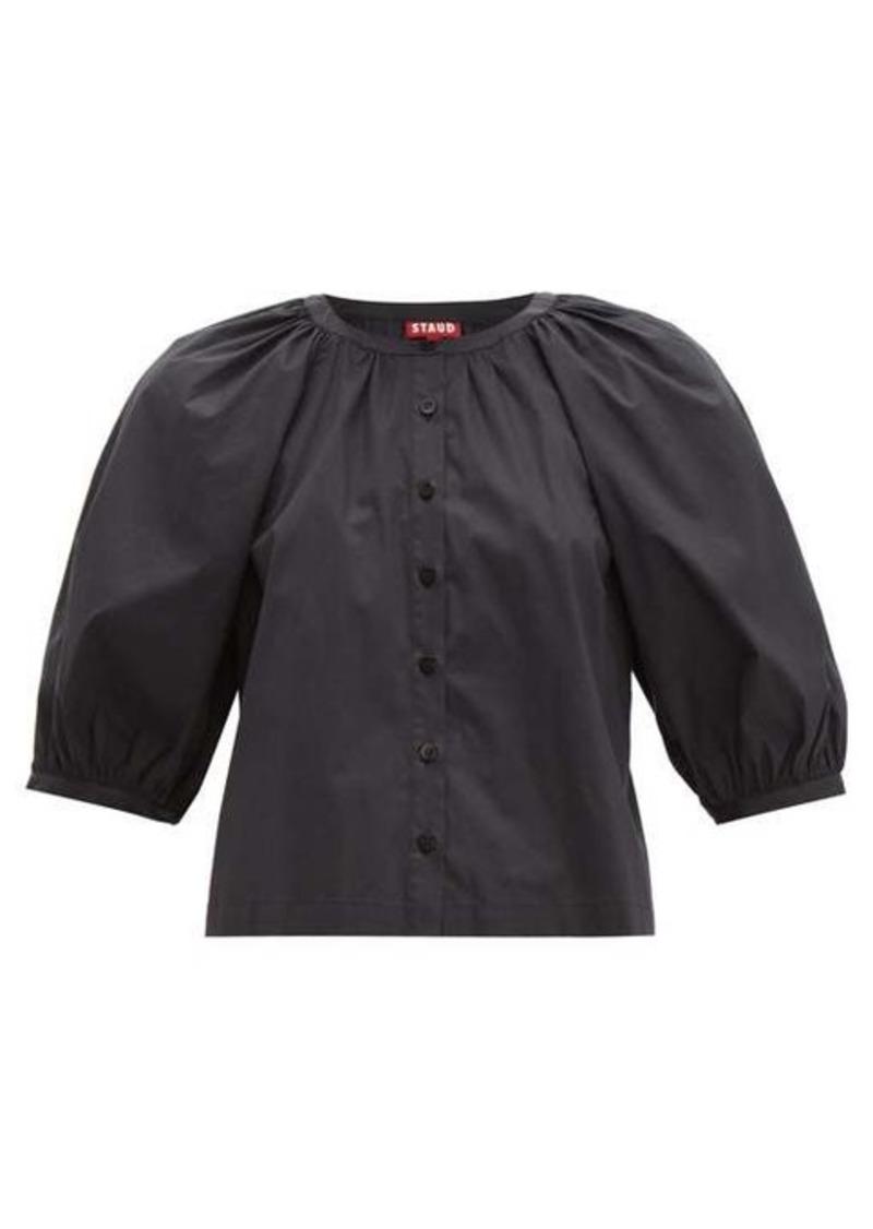 Staud Blouson-sleeve cotton-blend top
