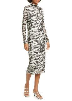 STAUD Brae Tiger Stripe Long Sleeve Midi Dress
