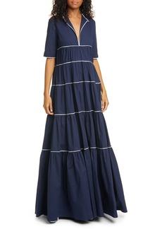 STAUD Cocoon Tiered Stretch Poplin Maxi Dress