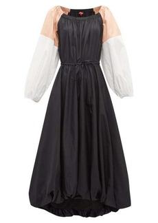 Staud Colour-block cotton-blend midi dress