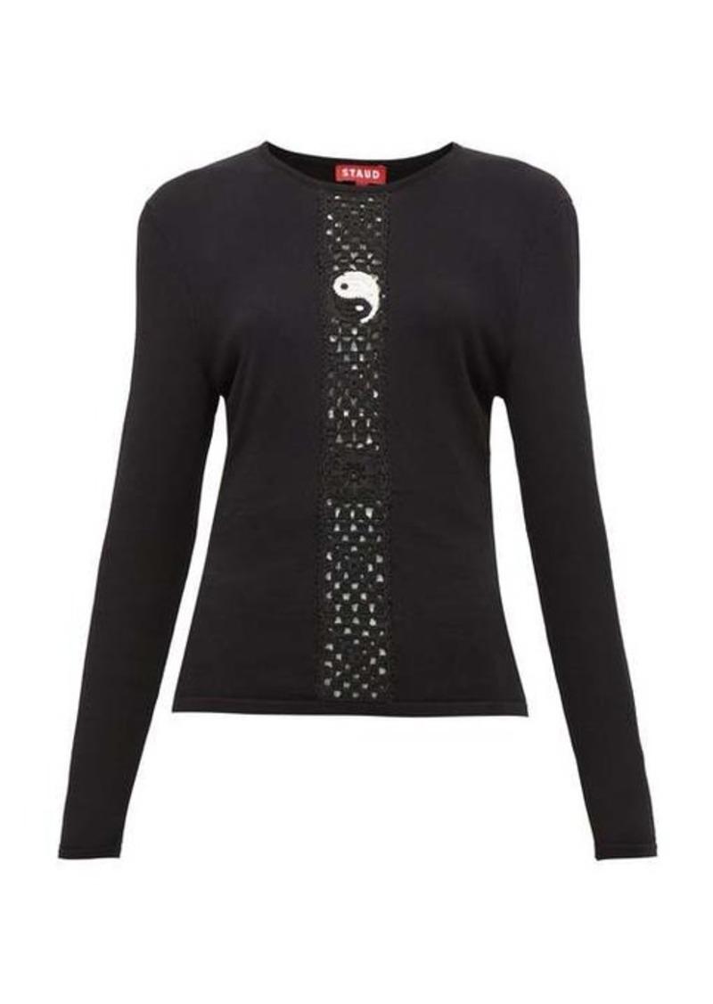 Staud Crochet-knit long-sleeve top