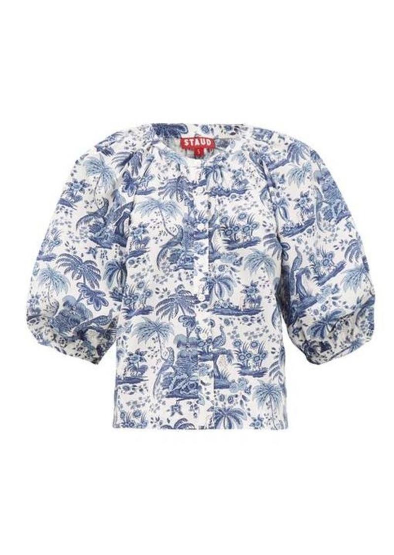 Staud Dill balloon-sleeve tropical-print cotton blouse