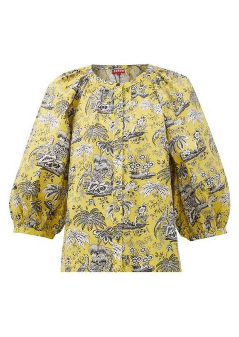 Staud Dill tropical-print cotton-blend blouse