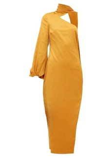 Staud Farrah one-shoulder satin dress