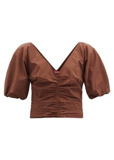 Staud Fiona V-neck ruched cotton-blend poplin top