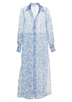 STAUD Frank Toile Print Long Sleeve Crepe Organza Maxi Shirtdress