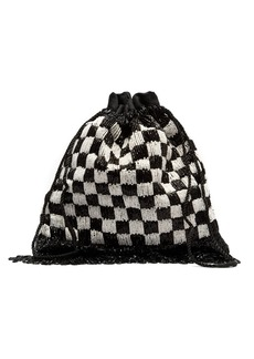 Staud Gabbi check beaded drawstring pouch