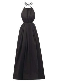 Staud Georgia halterneck cotton-blend faille dress
