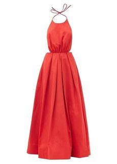Staud Georgia halterneck cotton-blend poplin maxi dress