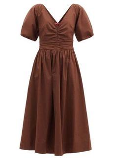 Staud Greta ruched cotton-blend dress