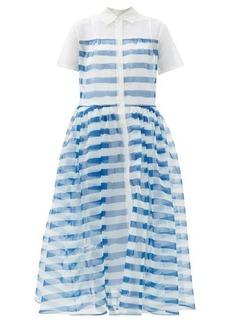 Staud Guilia striped organza-overlay shirt dress