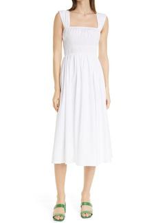 STAUD Ida Smocked Midi Dress