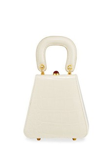 Staud Kenny Croc-Embossed Calf Top Handle Bag
