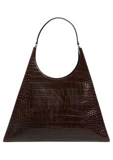 STAUD Large Rey Croc Embossed Leather Shoulder Bag