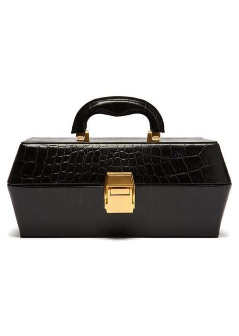 Staud Lincoln crocodile-effect leather box bag