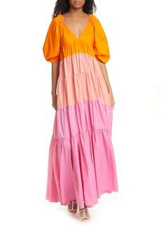 STAUD Meadow Colorblock Tiered Maxi Dress