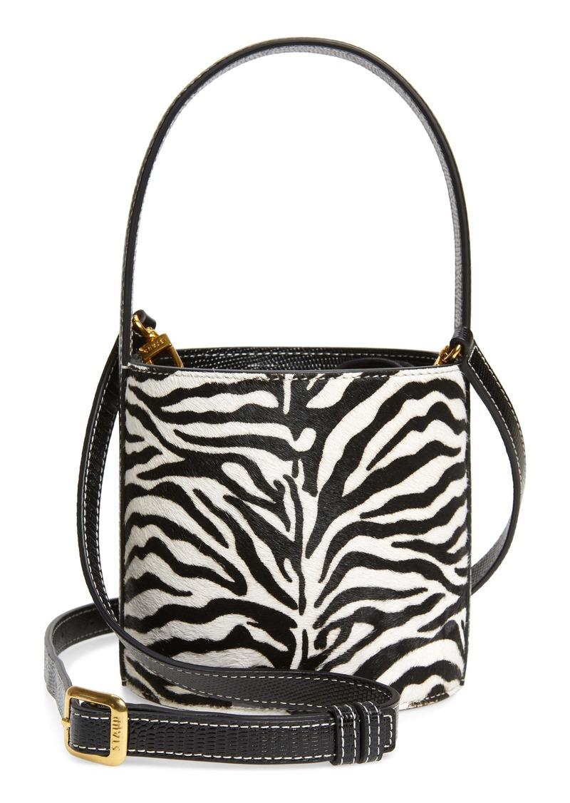 STAUD Mini Bissett Zebra Calf Hair Bucket Bag