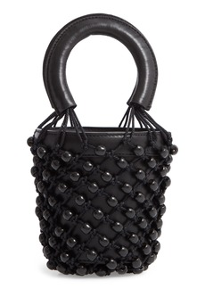 STAUD Mini Moreau Beaded Caged Bucket Bag