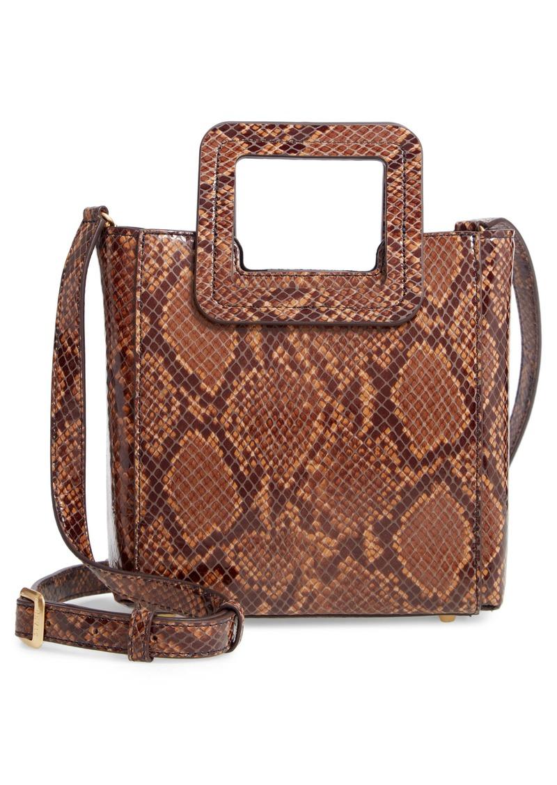 STAUD Mini Shirley Snake Embossed Leather Bag