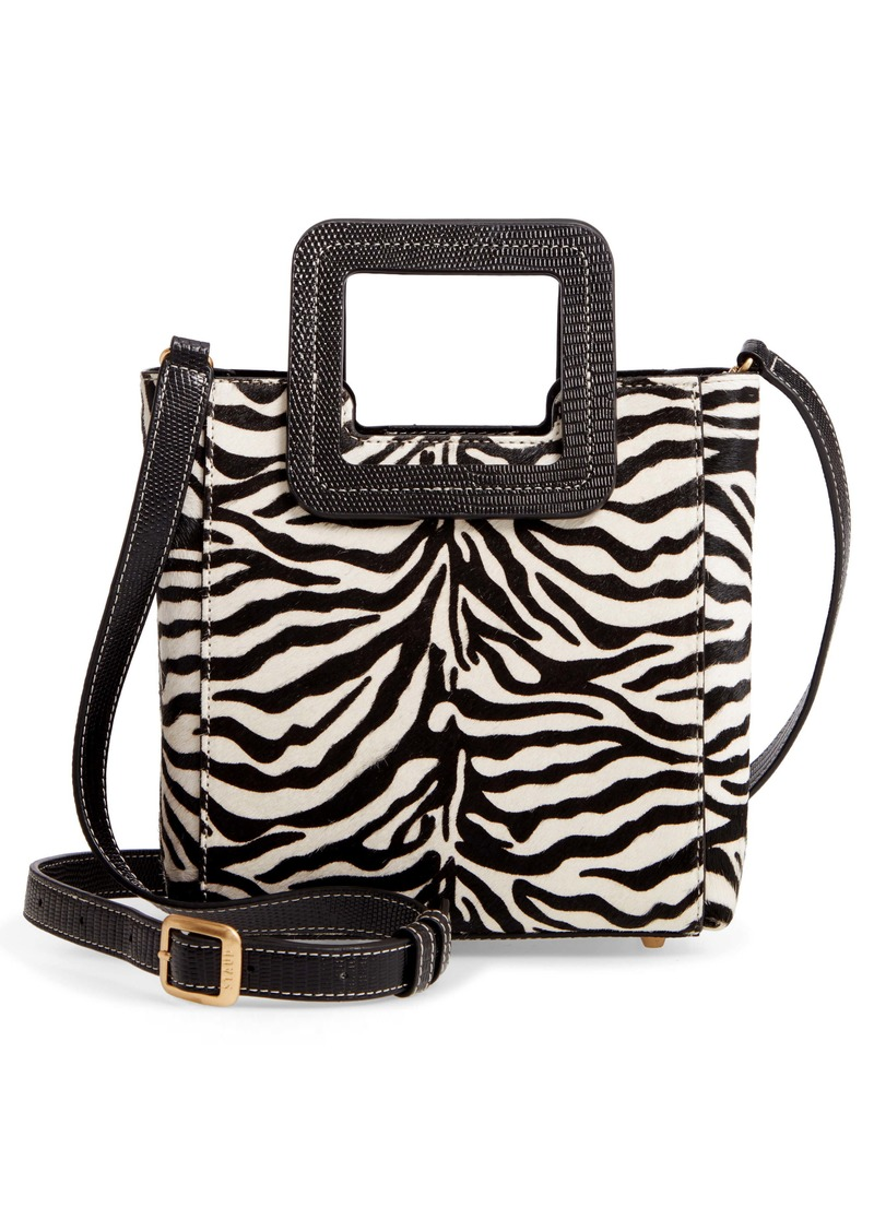 STAUD Mini Shirley Zebra Stripe Genuine Calf Hair Handbag
