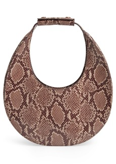 STAUD Moon Snakeskin Embossed Leather Bag