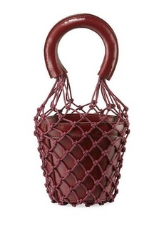 Staud Moreau Mini Net/Leather Bucket Bag