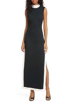STAUD Noir Contrast Trim Mock Neck Maxi Dress