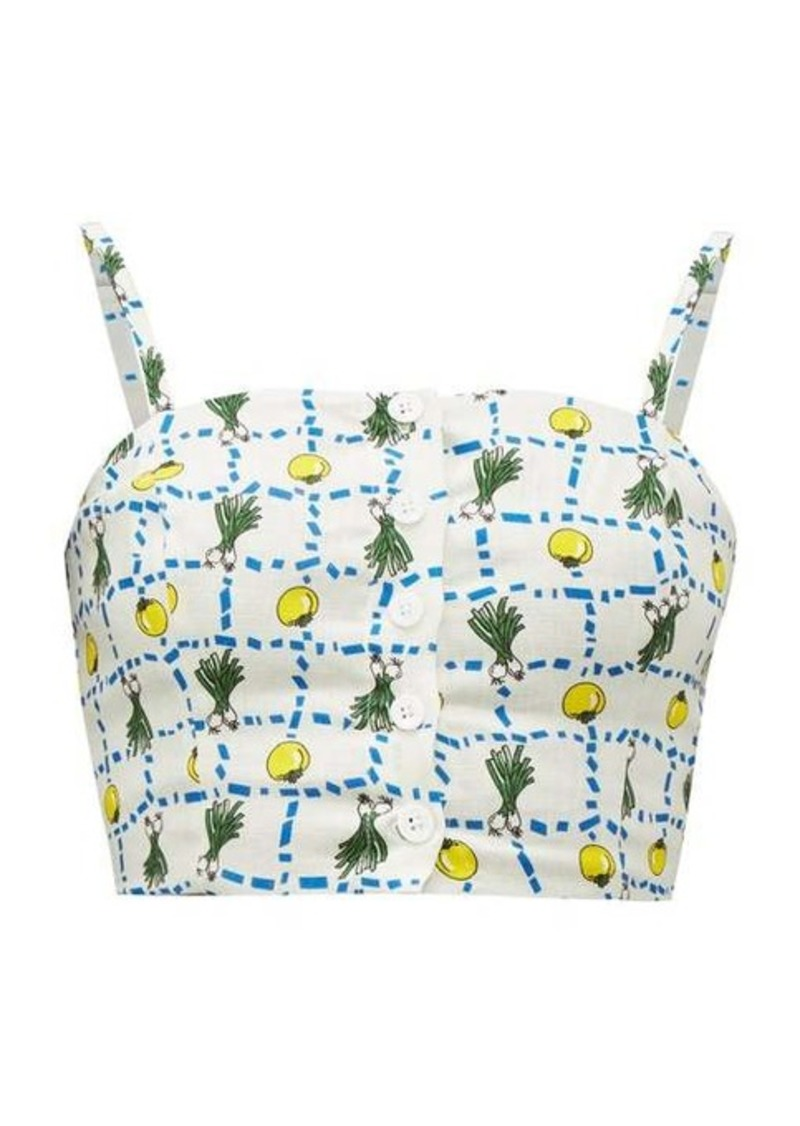 Staud Pear vegetable-print cropped linen top