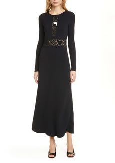 STAUD Petal Crochet Panel Long Sleeve Dress