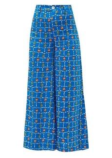 Staud Plum vegetable-print linen wide-leg trousers