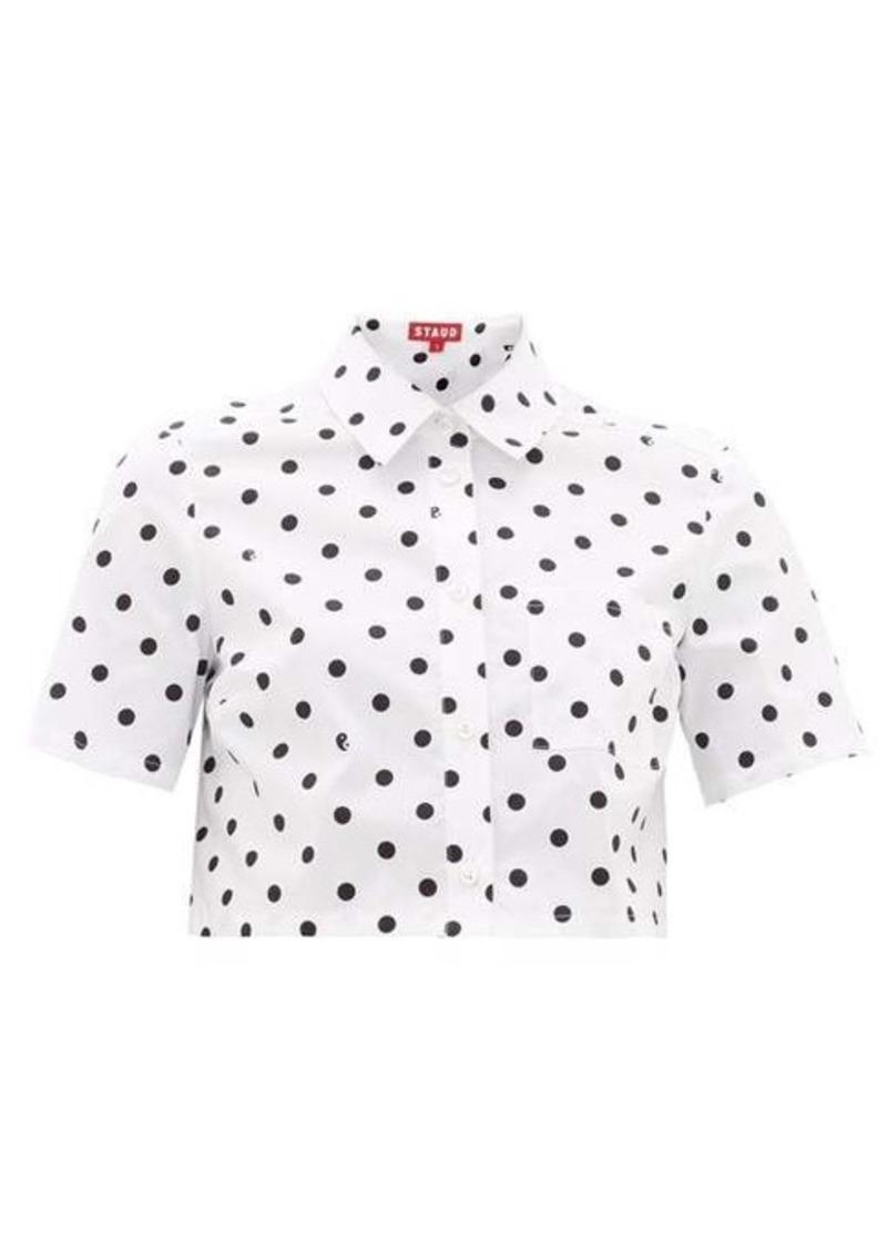 Staud Polka-dot cotton-blend cropped blouse